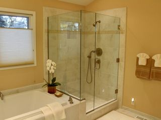 Pebble Beach house photo - Master bath with separate shower and deep soaking tub.