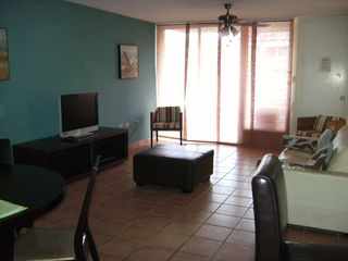 Loiza apartment photo - Living Room with TV, ceiling fan, 2nd balcony towards parking lot