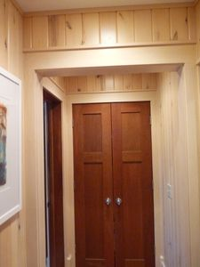 Basswood hallway between bath and bedrooms.