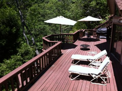 Lake Arrowhead house rental - Main floor deck with BBQ and lounge area, with another full size deck down stair