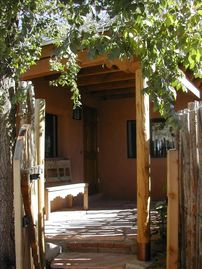 Santa Fe house rental - West Side Entrance and Patio - Drive in Courtyard entrance on other side.