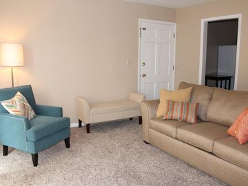 Emporia apartment rental - Modern furniture includes a queen sized pull out sofa.