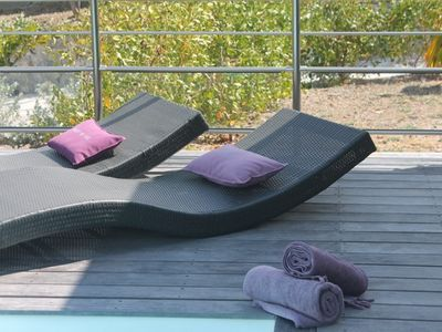 Orient Bay villa rental - Sun lounger and towel at the pool