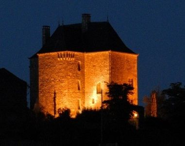 Château lit up at night