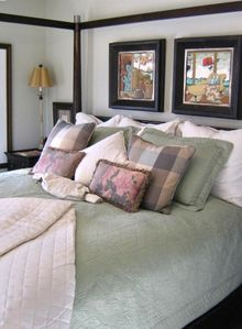Guest Bedroom with king bed, fine linens and wonderful artwork