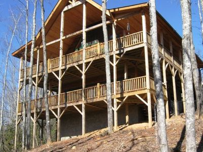Brevard cabin rental - Cabin in the Trees - View from back - 2 decks - 1 screened on side, mtn views