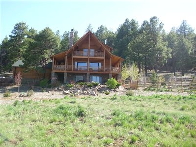Three story log home captivating views of vrbo for Three story log cabin