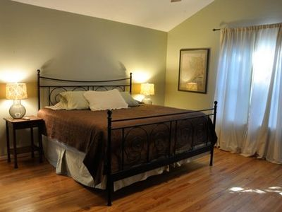 Another view of the king size bed in the master. Large room.