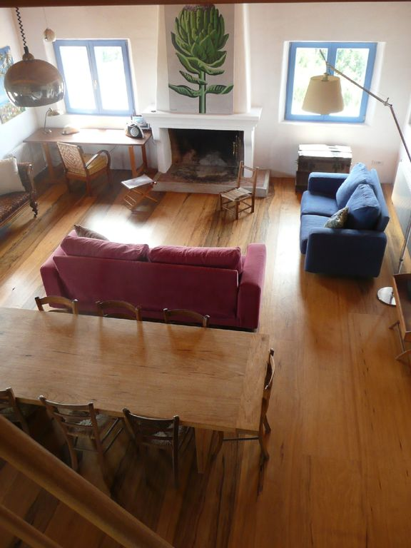 living room, view from mezzanine .