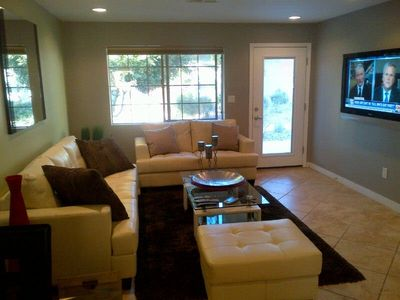 "Very Chic Living area with 50"" HDTV, Wireless Sound, WIFI and IFR remote Audio"