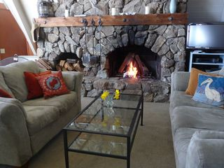 Mendocino house photo - Rock wall fireplace