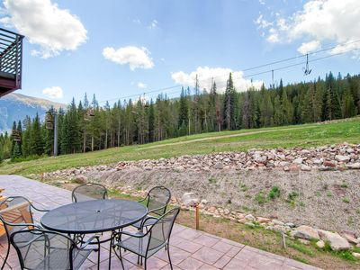 Copper Mountain house rental - View of Lower Roundabout Ski Run from deck - true ski in/out access!