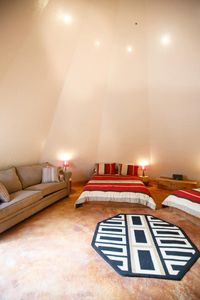 All tipis have a kitchenette, flat screen w/ directv, and air conditioning/heat.