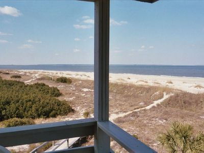 Tybee Island condo rental - View from deck with boardwalk below