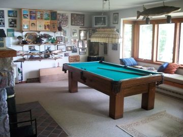 Recreation room with electric fire, pool table and view of lake