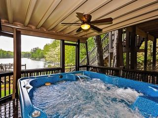 Lake Arrowhead house photo - New 6-person hot tub with speakers, lighting, and waterfall. Great lake view.