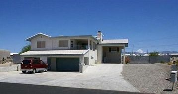 Lake Havasu City house rental - Home with view, large driveway, large and small garages, upper terrace.