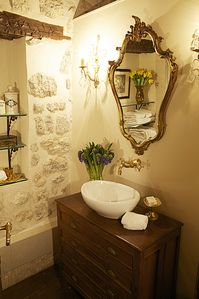 Antique fixtures, custom brass plumbing
