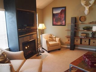 Cottonwood Heights townhome photo - Gas fireplace insert turns on and off with light switch, features adjustable fan