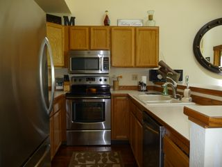 Columbia Falls condo photo - Great Bar W/ STAINLESS STEEL appliances, convection oven & French door fridge.