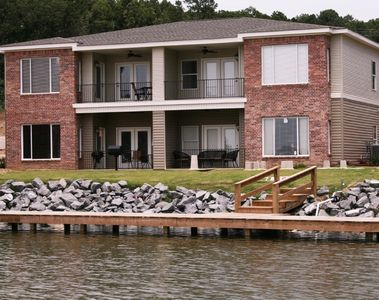 Back Patio to Lake - Lower Left Unit, just steps to water, slip and boardwalk.