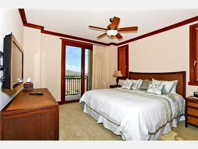 Ko Olina villa rental - Master Bedroom with King Bed & Lanai