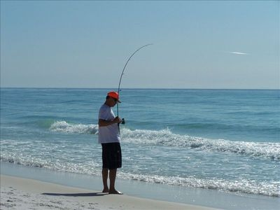 Enjoy fishing on the beach just a short walk away