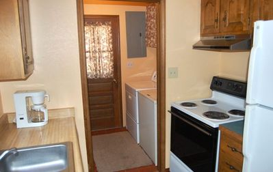 Full kitchen and laundry room