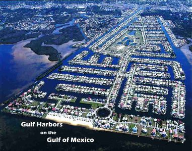 Picture of Gulf Harbors. House is at the neck of the circle on the left by beach