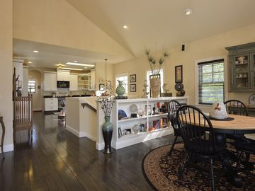 View as you enter. Dining area on right, living room area left, kitchen ahead.
