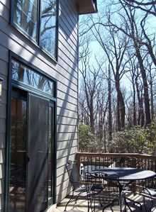 Another view of the side porch looking out over Wintergreen Mountain