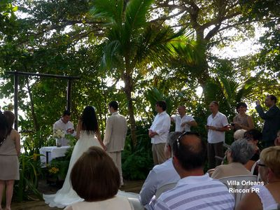 Ceremony paces from beach