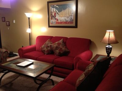 Living room with pullout queen sofa bed