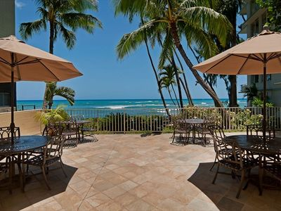 Private oceanfront lanai for guests only