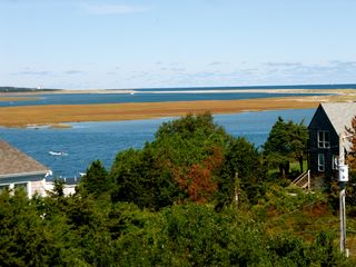 Orleans house photo - Nauset bay views from upstairs observation deck, with 4 chairs.