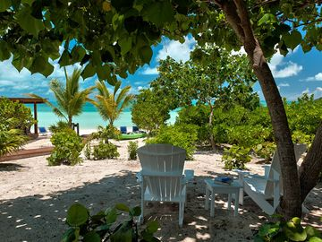 Relax in the shade with a beautiful view of the beach