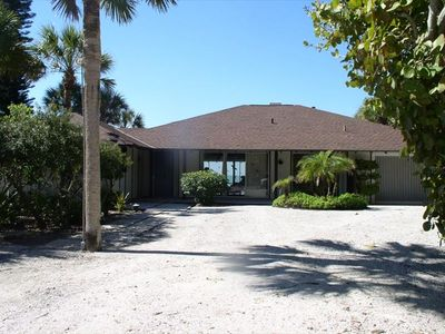 The front of the house faces east. You can see through to the Gulf of Mexico.