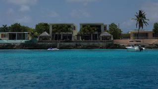 Bonaire villa photo - View from Caribbean Sea, two simular houses , the one on the left is Kas Daas.