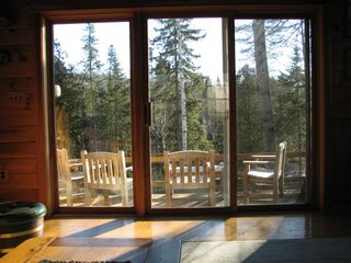 "Rockwood cabin photo - Looking out onto the deck that faces the ""Headwaters of Scotts and Gilbert Pool"