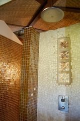 Keaau house photo - Walk in gold tiled shower with a wonderful rain shower.