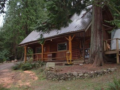 Your quiet retreat in the woods. Rustic but with the trappings of modern life.