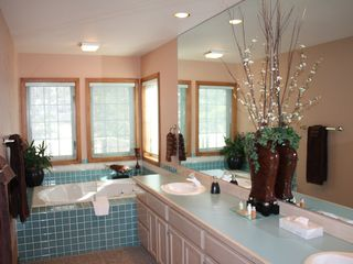 Sunriver house photo - Upstairs Master Bath with Soaking Tub, Shower and Double Vanity