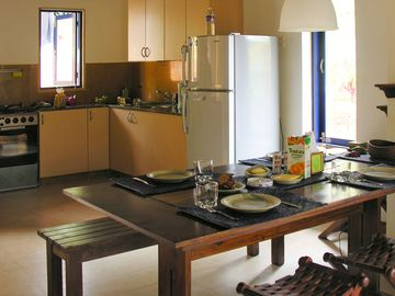 Dining and european style open kitchen format