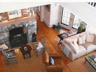 Harbor Springs chateau / country house rental - View of living room from 2nd floor atrium library