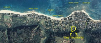 overview of property location showing surf break/beach names