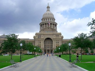 The Capitol building, 1.5 miles up Congress Ave... welcome to Austin!