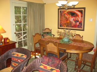 Healdsburg cottage photo - Dining area has a beautiful antique dining set, and stunning artwork.