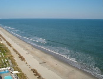 Paradise Resort condo rental - View from balcony of gorgeous Myrtle Beach. Just steps away!