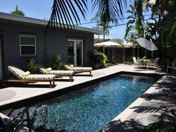 Fort Lauderdale house rental - Take full advantage of the sun and extra-deep heated saltwater pool