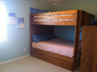Full over full bunks plus a twin trundle in the other bedroom